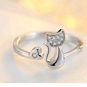 Jewelry - Silver-tone cat/ kitten ring adjustable